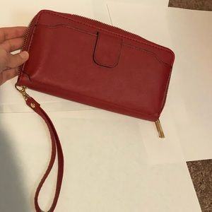 Red Zip Closure Wallet Wrist iPhone 8 Pocket